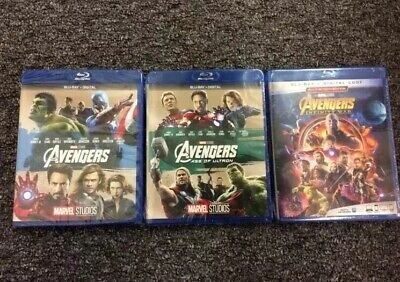 Avengers Trilogy 1-3 Age of Ultron + Infinity War (Blu-ray, 3 DVD Set) + Posters