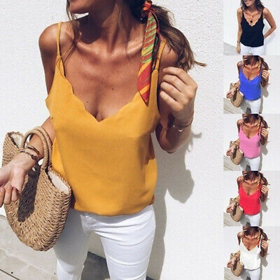 Women Sexy Sleeveless Vest Loose Camisole Casual V-Neck Tank Tops Blouse T-Shirt