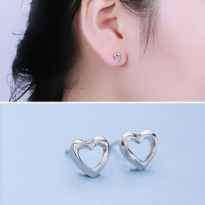 925 Sterling Silver Open heart studs Ladies Woman Girls Childrens Earrings UK