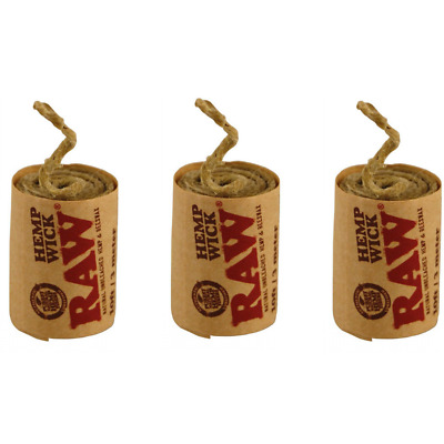 3X RAW Rolling Papers Natural Unbleached Hemp & Beeswax Wick Rolls 3m