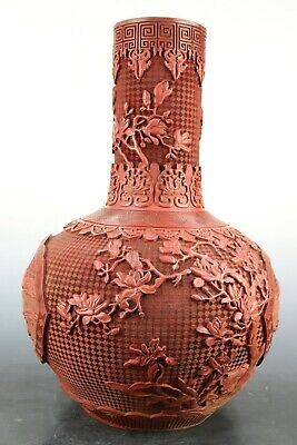 Fine Beautiful Chinese Lacquer Ware Landscape View Flowers Vase