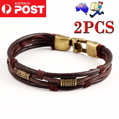 Mens Surfer Leather Bracelet Wristband Braided Rope Bronze Buckle Wrap Brown OZ