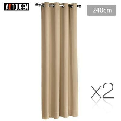 Art Queen 2x Blockout Curtains Eyelet 3 Pass Blackout Room 240cm x 230cm Latte