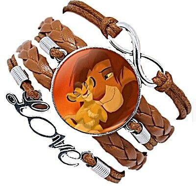 The Lion King Themed Glass Domed Love Logo Braided Leather Bracelet