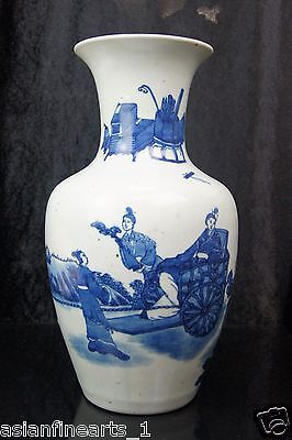 Old Ming Dynasty Blue and White Porcelain Qinghua Vase Chinese Antique Pot #523
