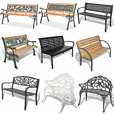 3 Seater Outdoor Garden Bench Cast Iron Legs Patio Park Seat Chair Selectable