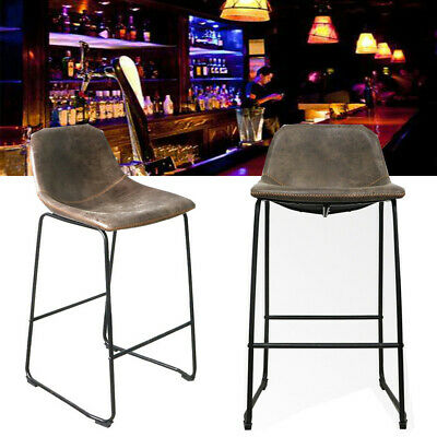Pack of 2 Barstool Wooden Bar Stool Heavy Duty Metal Stools Breakfast Home Cafe