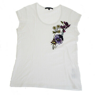 367505fc5 Authentic GUCCI Logos Flower T-SHIRT Tops 100% Cotton Size M White Italy  07ER117