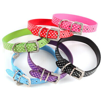 Adjustable PU Leather Pet Dog Cat Puppy Kitten Collar Safety Lead S M L Size UK