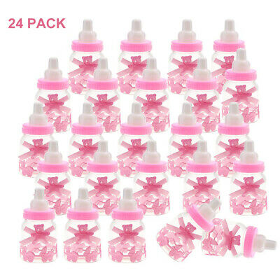 12/24PCS Fillable Bottles Candy Box with Bear Baby Shower Baptism Party Favour