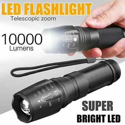 2pcs T6 LED Flashlight Tactical Torch Lamp Zoomable Cree Military Torch Light AU