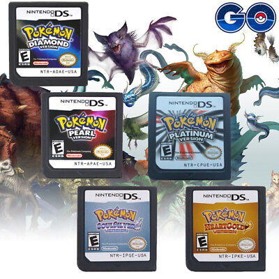 5Pcs Lite Pokemon Game Card Soul Silver Heart Gold For Nintendo DS 3DS NDSI NDSL