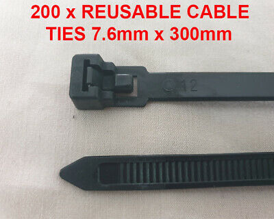 Black Strong Reusable Releasable Cable Ties Straps 300mm x 7.6mm (200 Ties)