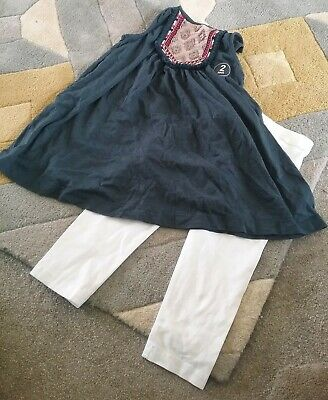 BNWT NEXT SET: Navy Long Top Beaded/embroidered detail, white leggings,6 YEARS