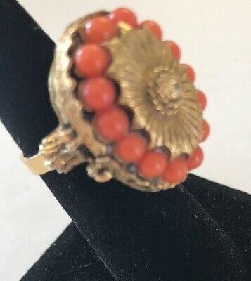 Heavy Vintage Chinese Gold Tone Faux (?) Coral Poison Ring Adjustable