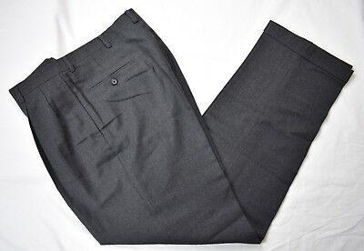 Austin Reed London Solid Dark Gray Worsted Wool Dress Pleat Trousers Size: 33x33