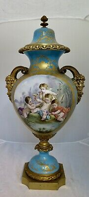 Vintage Late 19th Century Sevres Gilt Bronze Covered Urn