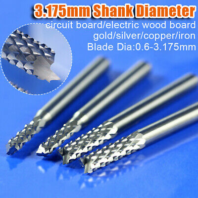 0.6-4mm PCB Carbide Tools End Mill 3.175mm Shank CNC Engraving Milling Cutter