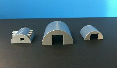 (3) QUONSET Building Set with Office - N Scale - 1:160 Military or Farm Cluster