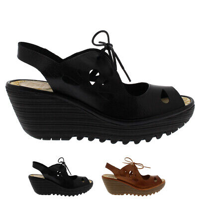 967a1e9b54 Ladies Fly London Yend Peep Toe Cut Out Mid Wedge Summer Sassy Sandals All  Sizes