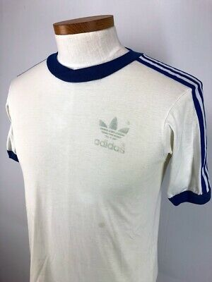 92f7954bd29 Vintage 70s Adidas Trefoil Logo Three Stripe Sleeve Ringer T Shirt Adult  Large