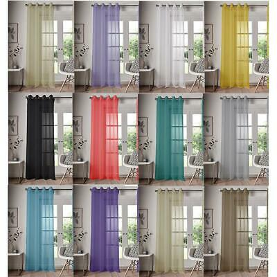 Single Panel Eyelet Top Voile Curtain Pole Rod Pocket Plain Colours Door Window
