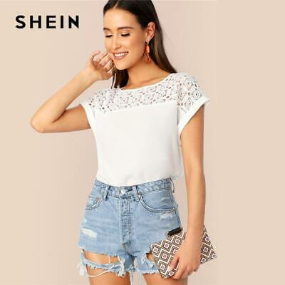 774422507d SHEIN White Guipure Lace Yoke Roll Up Sleeve Tunic Top Hollow out Blouse  Women S