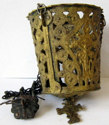Post Medieval Genuine Triple Chained Orthodox Bronze Censer With Cross # 932
