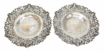 Pair Graff Washbourne & Dunn Sterling Silver Pierced Feet Compotes # 2584 c1900