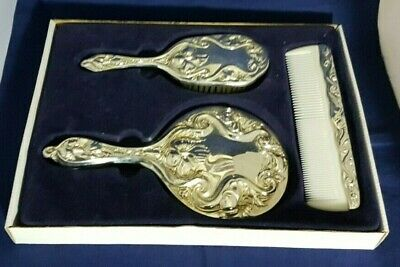 Beautiful Vintage Style Silver Plated Hand Mirror Set (Boxed)