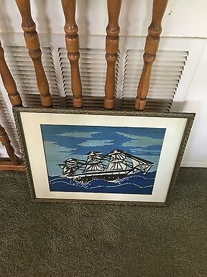 Vtg Hand Stitched Embroidered Needlepoint SAILSHIP Boat Framed Picture