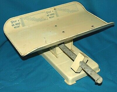 Vintage Hospital Detecto Beam Type Baby Scale Retro Scale 30 Lbs Capacity Cream