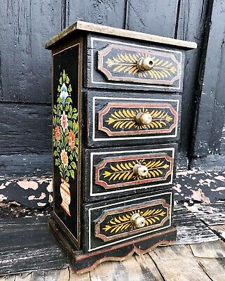 Vintage Hand Painted 4 Drawer Kitchen Spice Cabinet Decorative Folk Art
