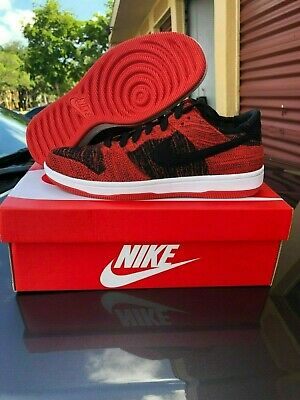 8b919d9f890 Nike Dunk Low Flyknit Bred 917746 004 Black Red Skateboarding Shoes Size 10  12