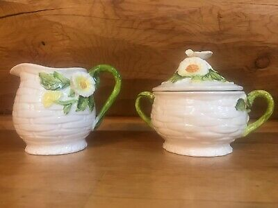 Vintage Lefton 3856 Porcelain Rustic Daisy Cream and Sugar Set Made in Japan