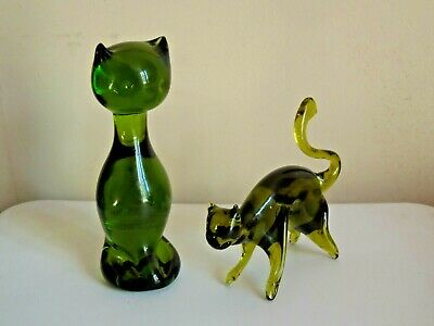 LOT OF 2 ANTIQUE Murano Green Glass CAT FIGURINES, NO CHIPS OR CRACKS!