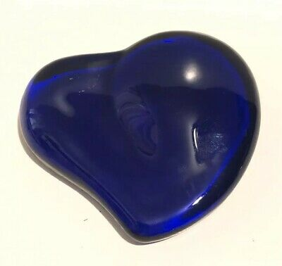 c0b8236598c8 Signed Elsa Peretti For Tiffany & Co Cobalt Blue Glass Heart Paperweight