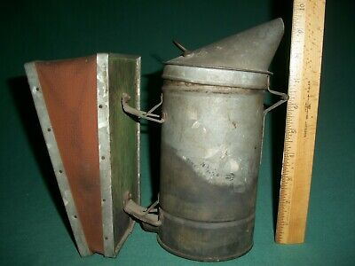 Antique / Vintage Primitive Bee Smoker Bellows Beekeeping Tin and Wooden Tool