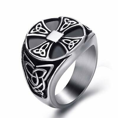 Signet Celtic Ring for Men Vintage Stainless Steel Biker Triquetra Knot Rings