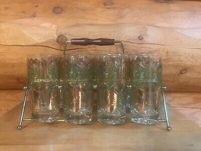 8 Vintage MCM Green Gold Tumblers by UTD GLASS with Gold Tone Metal Caddy Holder