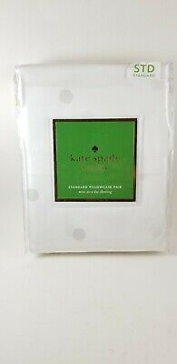 "Kate Spade New York Larabee Dot Standard Pillowcase Pair White..20x32""...New"