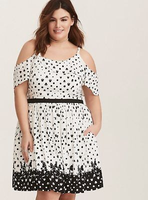 TORRID PLUS SIZE Disney Minnie Mouse Black & White Tulip Skater Dress