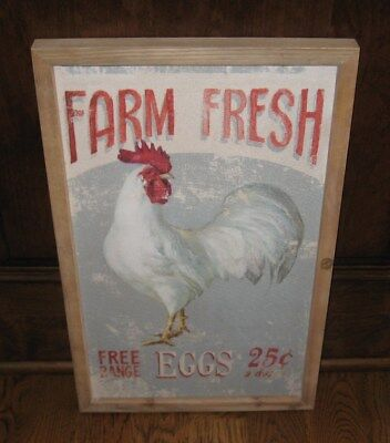 Chicken*Farm Eggs PICTURE*Primitive/French Country Farmhouse Barn Decor*New!