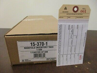 3-Part with Carbon 3-1//8 x 6-1//4 Inventory Tags Numbered 0000-0499 Blank Manifold Box of 500