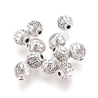 50 Tibetan Alloy Bumpy Metal Beads Carved Antique Silver Tiny Loose Spacers 6mm
