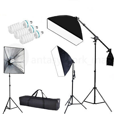 2019 Photography Photo Studio 3 Softbox Boom Light Stand Continuous Lighting Kit