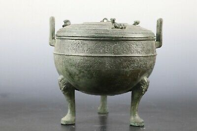 Fine Beautiful Chinese Rare Bronze Crouch Tiger DING 鼎