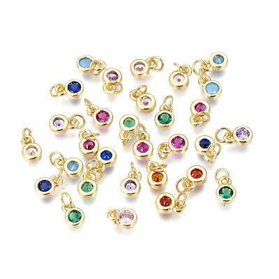 5pcs Colorful Brass Micro Pave Cubic Zirconia Bees Links Mini Charms 18x16.5mm