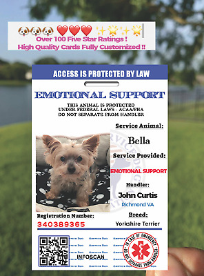 EMOTIONAL SUPPORT ANIMAL (ESA) ID BADGE SERVICE DOG ID CARD FHA/ACCA Dog ❤️