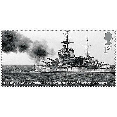 'D-Day HMS Warspite shelling in support of beach landings' on 2019 stamp - U/M
